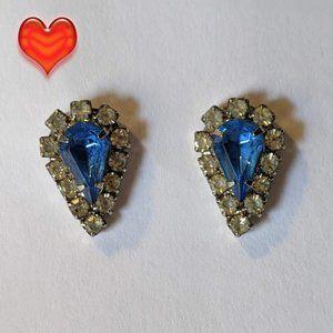 Vintage Blue & Clear Rhinestone Pierced Earrings